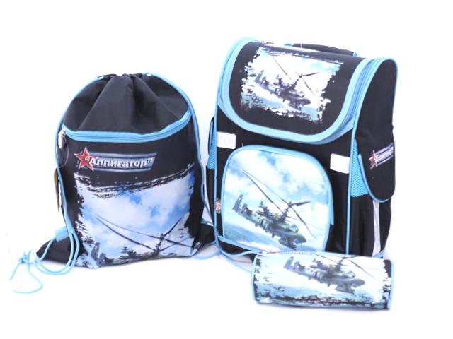 Ранец ортопедический 35*26*15 см, с сумкой для обуви и пеналом-косметичкой, Вертолет, Josef Otten