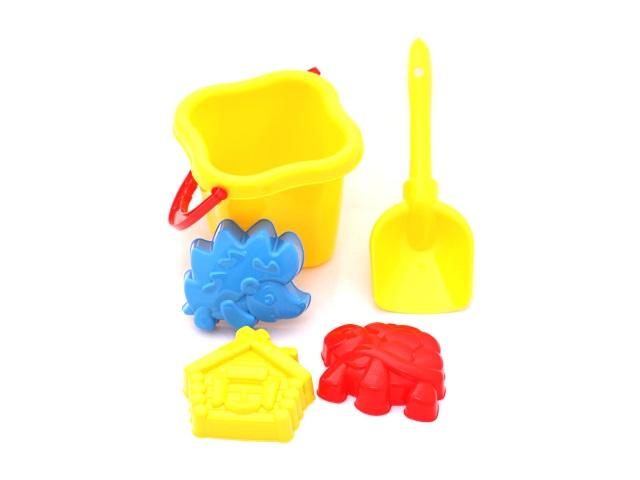 Песочный набор, 5 предметов, № 25 (ведро 0.8 л + лопатка 22 см + 3 формочки), в сетке, Рыжий кот