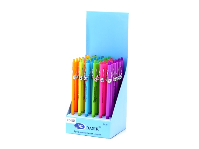 Ручка пиши-стирай, гелевая, синяя, 0.38мм., неоновая, со стразами, Basir