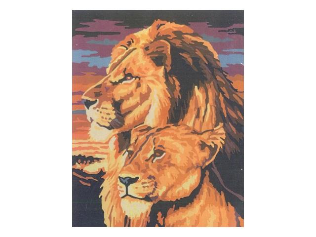 Картина по номерам, холст на подрамнике 40*50 см, в наборе кисти и акриловые краски, Львы на закате, Schreiber