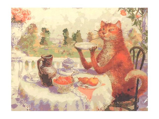 Картина по номерам, холст на подрамнике 40*50 см, в наборе кисти и акриловые краски, Забавное чаепитие, Schreiber