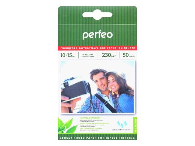 Фотобумага А6 глянцевая 230 г/м2, в упаковке 50 листов для струйной печати, Perfeo PF-GLR4-230-50