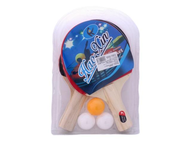 Теннисный набор, 5 предметов (ракетка - 2 шт., мячик - 3 шт.), деревянный, для настольного тенниса, блистер
