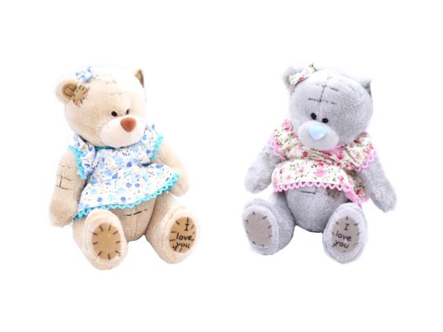Мягкая игрушка, Медведь Тедди в платье, 15см.