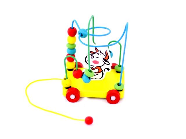 Деревянная развивающая игрушка, Лабиринт - каталка, на шнурке, в коробке