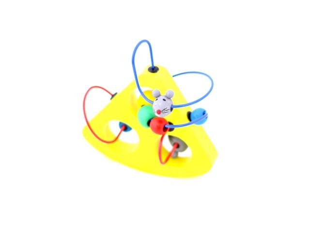 Деревянная развивающая игрушка, Лабиринт, Мышки и сыр, в коробке