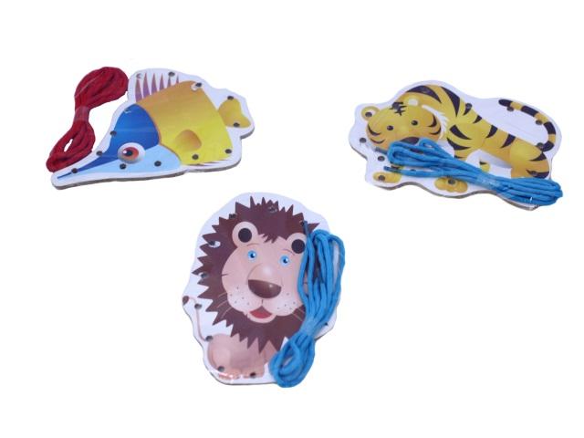 Деревянная развивающая игрушка, Шнуровка, Животные, в пакете