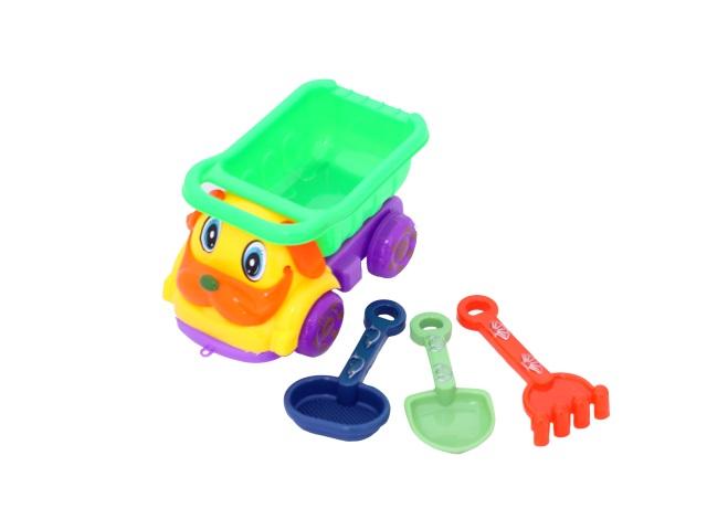 Машина пластиковая + песочный набор, 3 предмета (лопатка 12 см + грабли 12 см + сито 12 см), в сетке