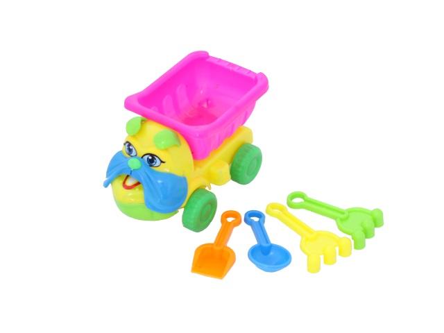 Машина пластиковая + песочный набор, 4 предмета (лопатка 10 см + совочек 10 см + грабли 10 см - 2 шт.), Собачка, в сетке