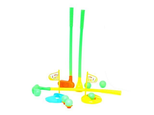Игровой набор Гольф, 9 предметов (клюшка - 3 шт., мячик - 6 шт., подставка для мячей - 1 шт., флажок - 2 шт.), в секе, Tongde
