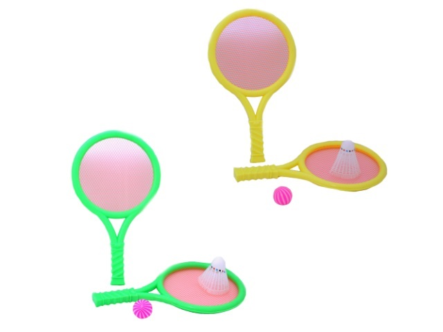 Теннисный набор, 4 предмета (ракетка - 2 шт., воланчик - 1 шт., мячик - 1 шт.), пластиковый, 30см., Loud Hammer, в сетке, Tongde