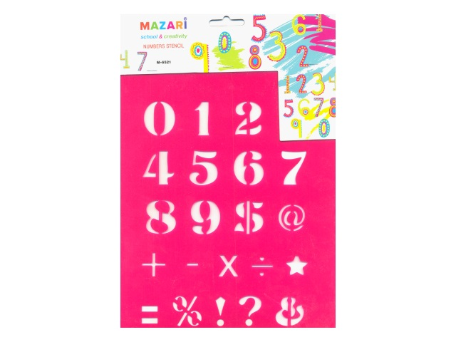 Трафарет мягкий пластиковый Цифры, Mazari М-6521
