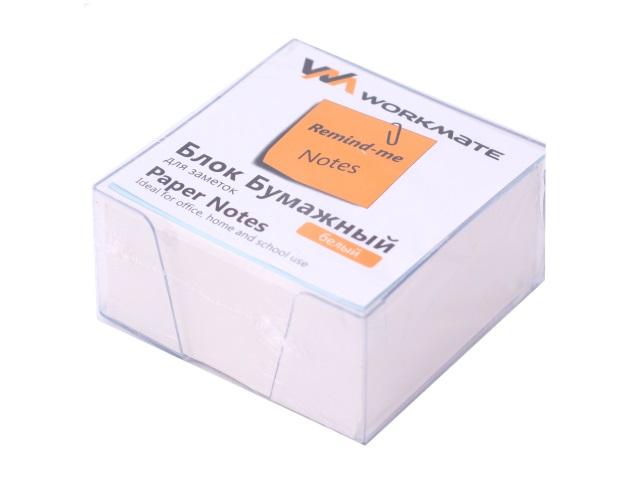 Бокс для бумаг, 9*9*5 см, пластиковый, прозрачный + бумага белая, не склеенная, 500 листов, Workmate