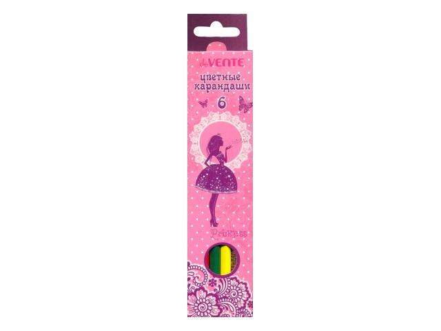Карандаши цветные 6 цветов Princess, шестигранные, DeVente 5021701