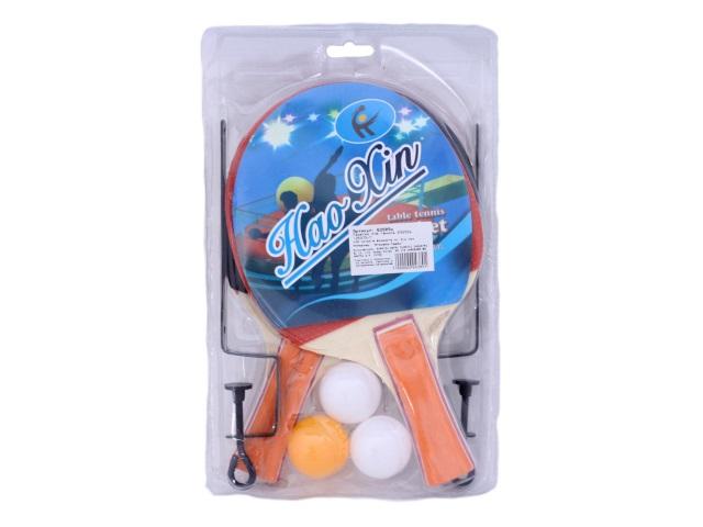 Теннисный набор, 6 предметов (ракетка - 2 шт., мячик - 3 шт., сетка), деревянный, для настольного тенниса, блистер