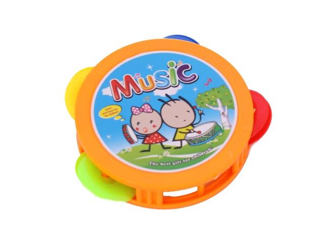 Бубен пластиковый, малый, Music, в пакете, Qinzhengyuan