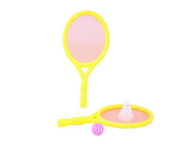 Бадминтон, набор 4 предмета (ракетка - 2 шт., мячик - 1 шт., воланчик - 1 шт. ), пластиковый, Sport Toys, в сетке, Tongde