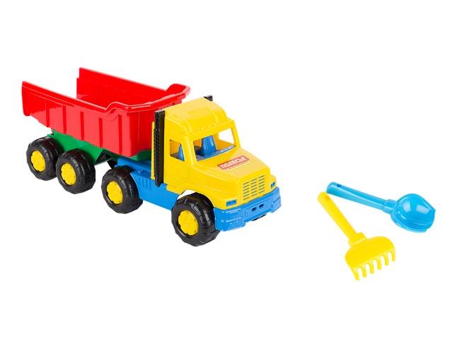 Машина пластиковая + песочный набор, 2 предмета (лопатка 16 см + грабли 16 см), Фаворит, №67, в сетке, Полесье