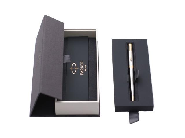 Ручка шариковая, поворотная, металлическая, черные чернила, 1мм., корпус - серебро, нержавеющий, в футляре, Sonnet, Parker