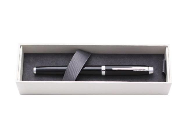Ручка роллер, металлическая, черные чернила, 0.5мм., корпус - черный, в футляре, IM, Parker