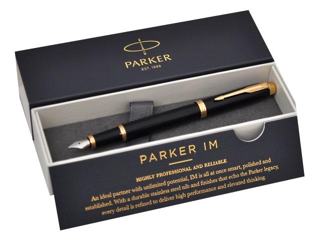 Ручка перьевая, металлическая, с капсулой, синие чернила, корпус - черный, в футляре, IM, Parker 1961645