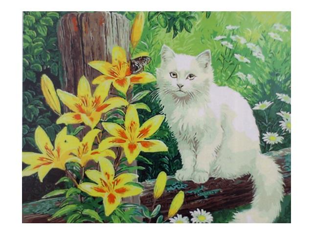 Картина по номерам, холст на подрамнике 40*50 см, в наборе кисти и акриловые краски, Белый кот в лилиях, Schreiber