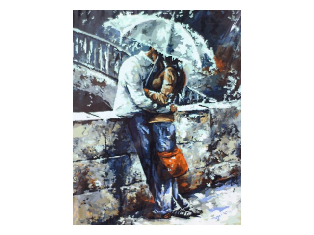 Картина по номерам, холст на подрамнике 40*50 см, в наборе кисти и акриловые краски, Двое под зонтом, Schreiber