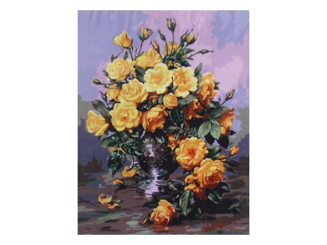 Картина по номерам, холст на подрамнике 40*50 см, в наборе кисти и акриловые краски, Желтые розы, Schreiber