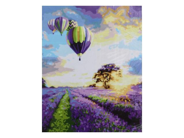 Картина по номерам, холст на подрамнике 40*50 см, в наборе кисти и акриловые краски, Шары над лавандовым полем, Schreiber