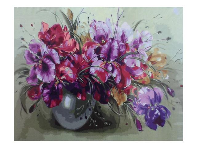 Картина по номерам, холст на подрамнике 40*50 см, в наборе кисти и акриловые краски, Ирисы, Schreiber
