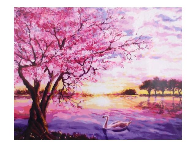 Картина по номерам, холст на подрамнике 40*50 см, в наборе кисти и акриловые краски, Сиреневый пейзаж, Schreiber