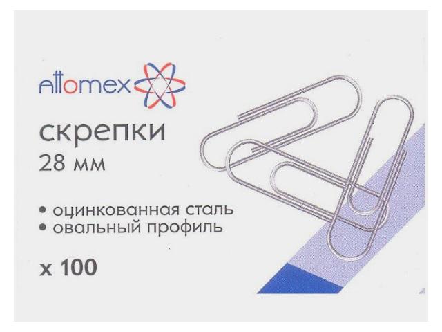 Скрепки, 28мм., 100шт., оцинкованные, в коробке, Attomex