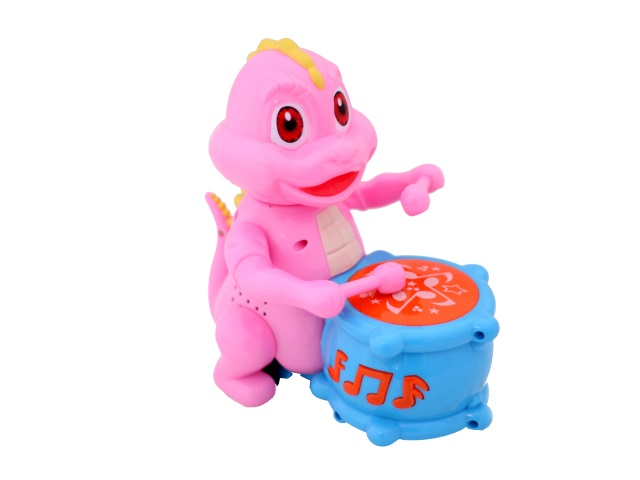 Музыкальная игрушка Динозавр с барабаном, на батарейках, пластиковый, в коробке, Tongde