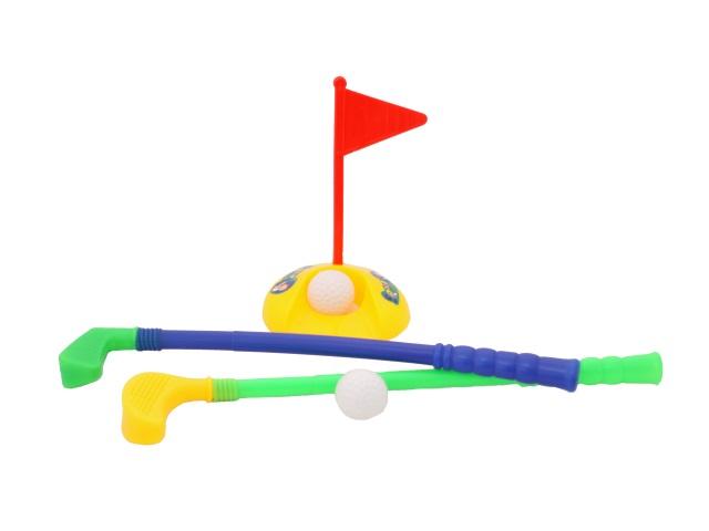 Игровой набор Гольф, 6 предметов (клюшка - 2 шт., мячик - 2 шт., подставка для мячей - 1 шт., флажок - 1 шт.), в сетке, Tongde
