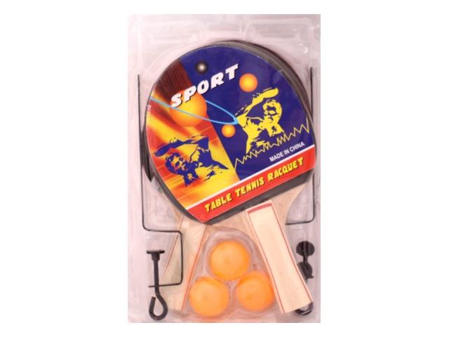 Теннисный набор, 6 предметов (ракетка - 2 шт., мячик - 3 шт., крепления для сетки), деревянный, для настольного тенниса, Sport, блистер, Qinzhengyuan