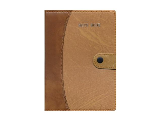 Блокнот на кнопке с ручкой А5 кожзам коричневый, 120 листов в клетку, SAT СХ-0632