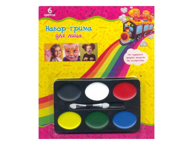 Краски для грима 6 цветов, с кисточкой, блистер, 206