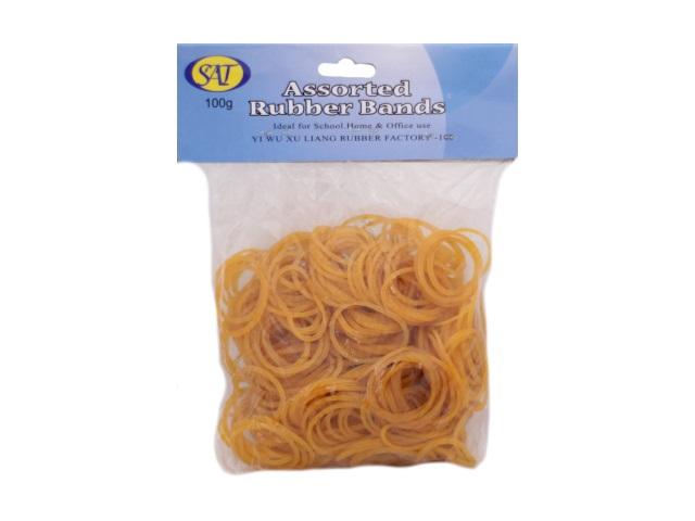 Резинки для денег 100 г, желтые в пакете, Sat Y-100