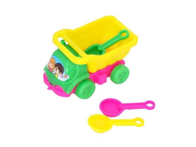 Машина пластиковая + песочный набор 3 предмета (3 разных совочка 8 см) в сетке