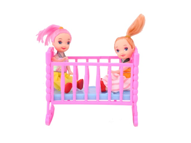 Кукла набор  2шт мал в Кроватке в пак 10см