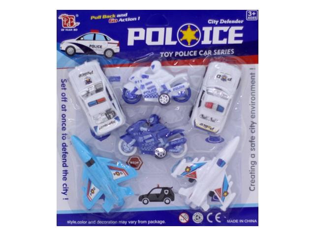 Машина набор  6шт инерц пласт Police блистер/1
