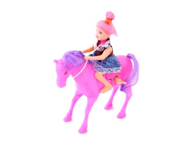 Заводная игрушка Лошадь + кукла Toys в пак 18см