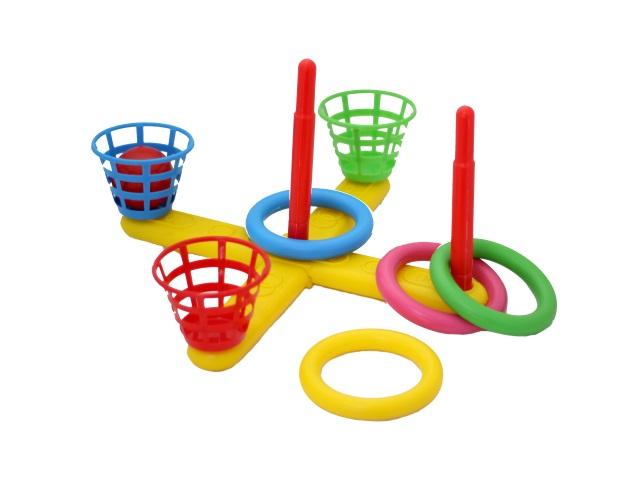 Игровой набор Кольцеброс 2 в 1 (мячи и кольца) пластиковый в пакете, MToys, арт. М15141