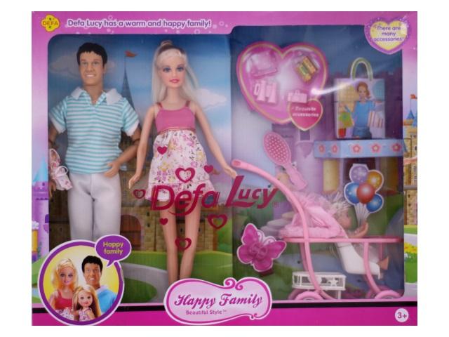 Набор кукол 3 шт. Барби Семья с аксессуарами Happy Family Defa в коробке, арт. 66265а