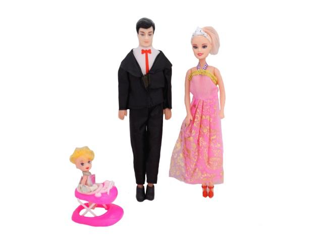 Набор кукол 3 шт. Барби Семья в пакете, Qinzhengyuan 189