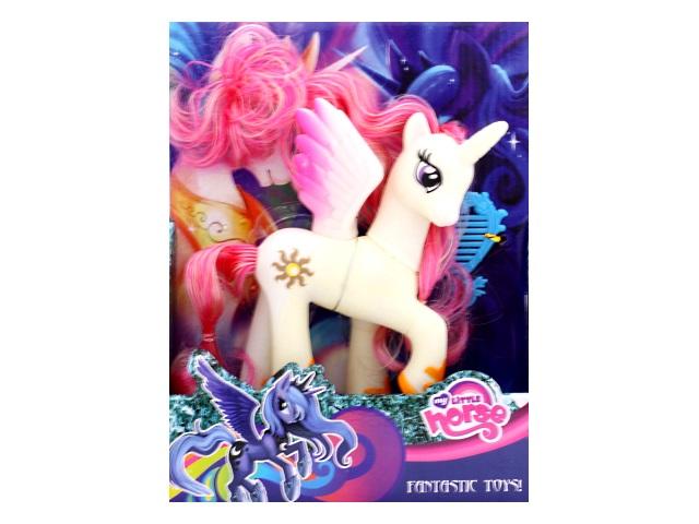 Пони резиновый My Little Horse 17 см, с аксессуарами, в коробке, Tongde