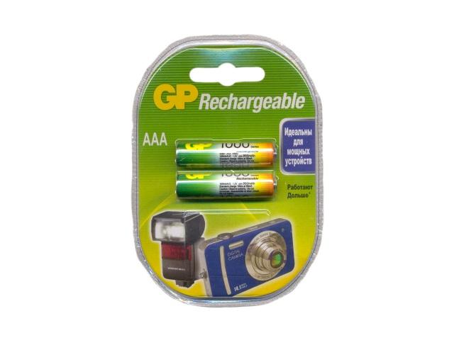 Батарейка аккумуляторная, в наборе 2 шт. R03 1000 mAh, Ni-Mh, GP