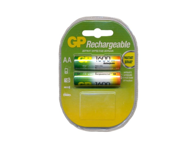 Батарейка аккумуляторная, в наборе 2 шт. R6 1600 mAh, Ni-Mh, GP