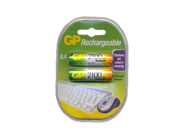 Батарейка аккумуляторная, в наборе 2 шт. R6 2100 mAh, Ni-Mh, GP