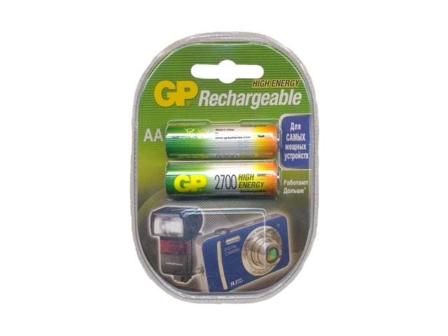 Батарейка аккумуляторная, в наборе 2 шт. R6 2700 mAh, Ni-Mh, GP